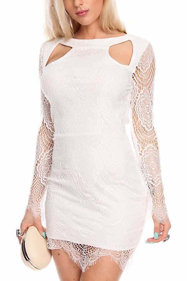 White Lace Long Sleeve Cutout Sexy Party Dress