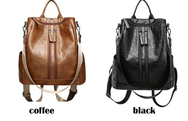 Retro PU Multi function Shoulder Bag Casual Double Zippers School Student Backpack For Big Sale!- cutespree.com