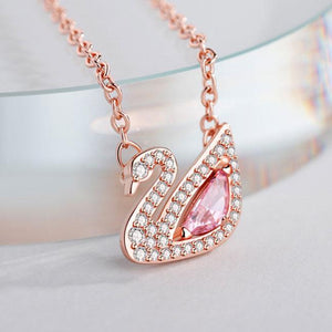 Romantic Swan Pink Lover Gift Women Necklace Crystal Rhinestone Pendant Silver Necklace