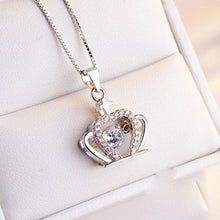 Load image into Gallery viewer, Cute Crown Diamond Women's Crown Cross Silver Crystal Necklace