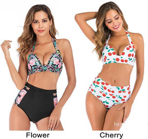 Sexy Flower Cherry High Waist Hot Bikini Sling Summer Swimsuit