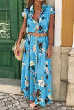 Floral Print Button Up Short Sleeve Casual Maxi Dress
