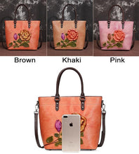 Load image into Gallery viewer, Retro Rose Large Original Leather Handbag 3D Flower Leaves Shoulder Bag