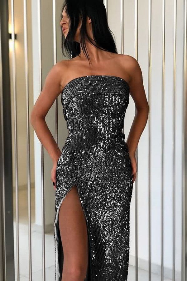 Glitter Strapless High Slit Sexy Party Sequin Dress