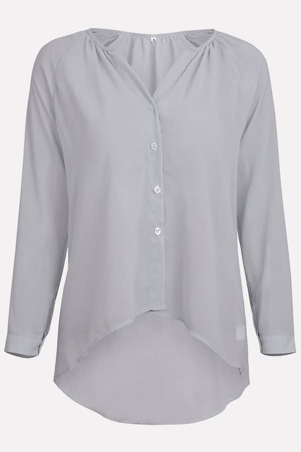 Button Up V Neck Long Sleeve Casual Plus Size Chiffon Blouse3-cutespree