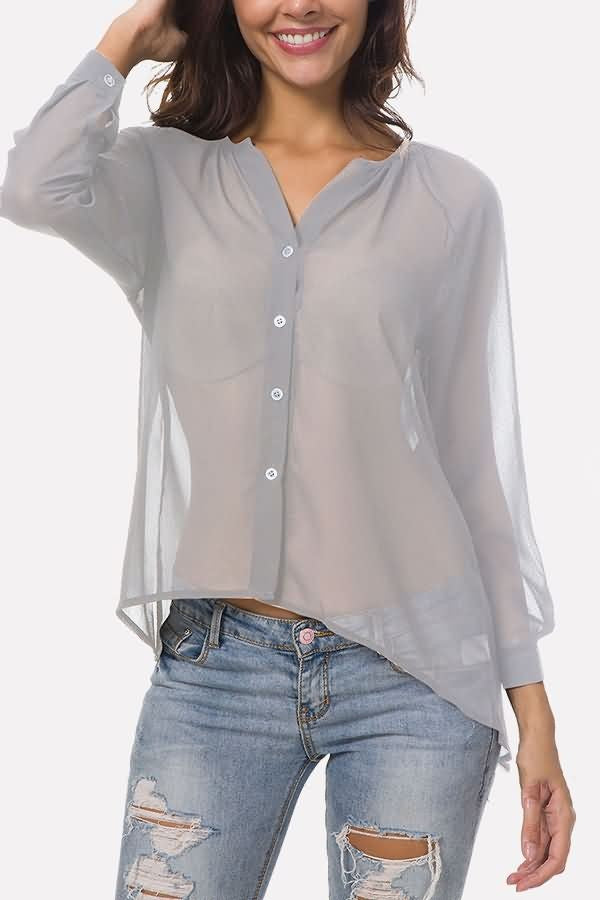 Button Up V Neck Long Sleeve Casual Plus Size Chiffon Blouse1-cutespree