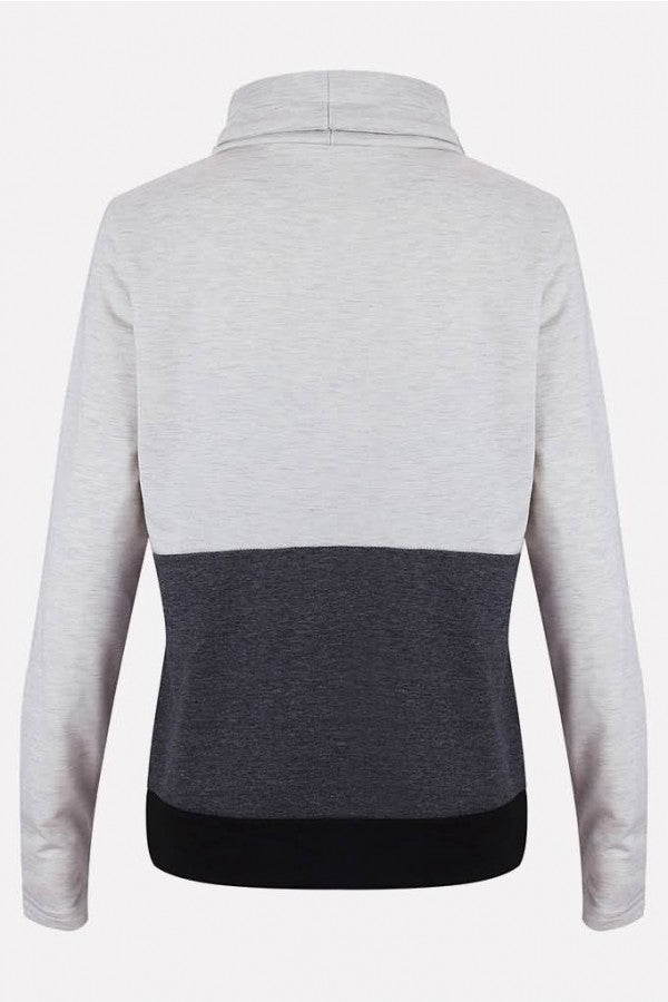 Gray Color Block Drawstring Cowl Neck Long Sleeve Casual Sweatshirt