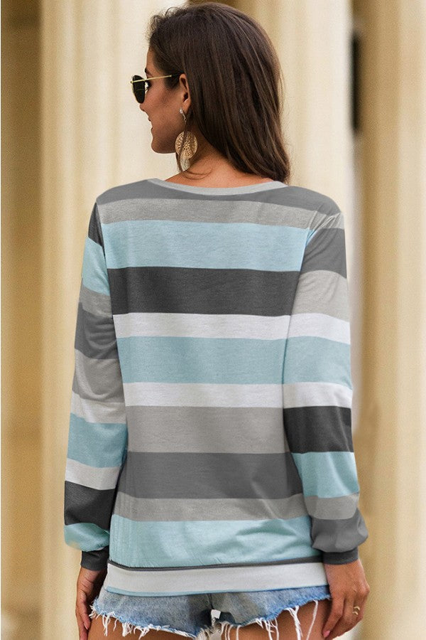 Gray Colorful Stripe Round Neck Long Sleeve Casual T Shirt