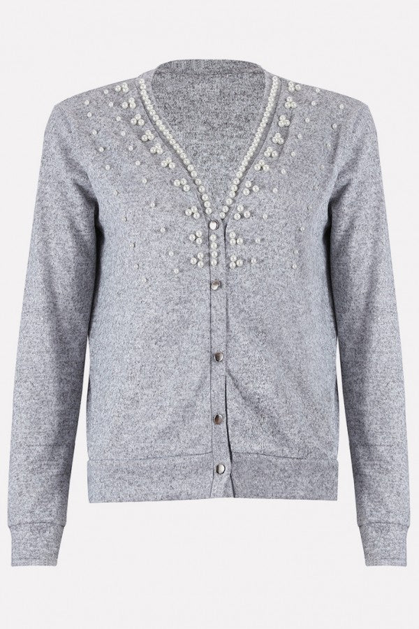 Gray Imitation Pearl Button Up Long Sleeve Casual Cardigan Sweater