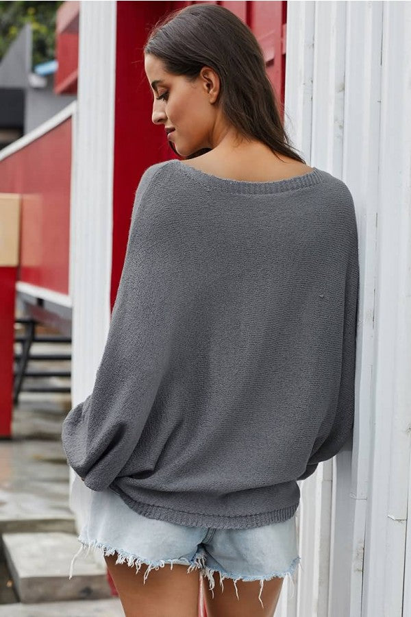 Gray Round Neck Bat Sleeve Casual Sweater