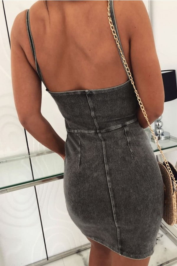 Gray Spaghetti Straps Sexy Bodycon Denim Dress