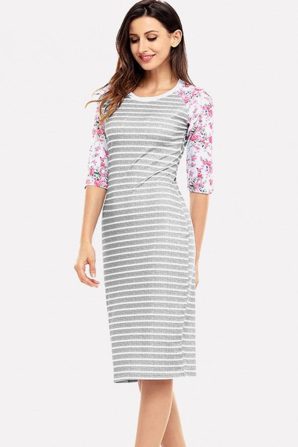 Gray Stripe Floral Print Half Sleeve Casual T-shirt Dress