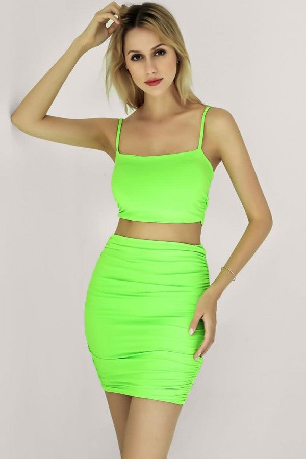 Green Neon Spaghetti Straps Ruched Sexy Bodycon Two Piece Dress