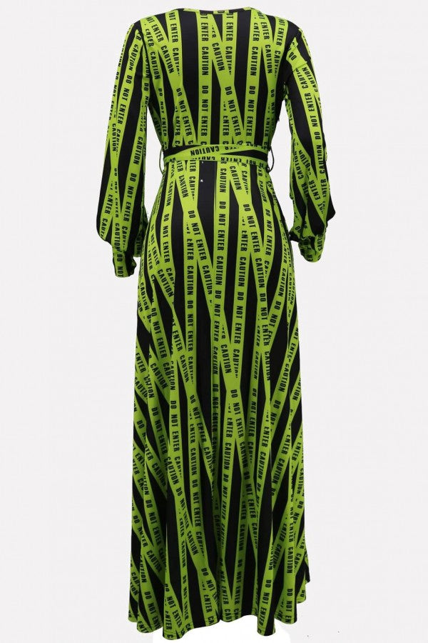 Green Stripe Letters Print Long Sleeve Casual Maxi Dress