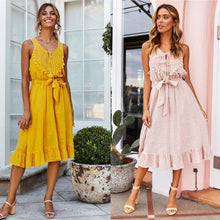 Load image into Gallery viewer, Leisure Sexy Openwork Sleeveless Strap Tassel Long Cotton Summer Dress
