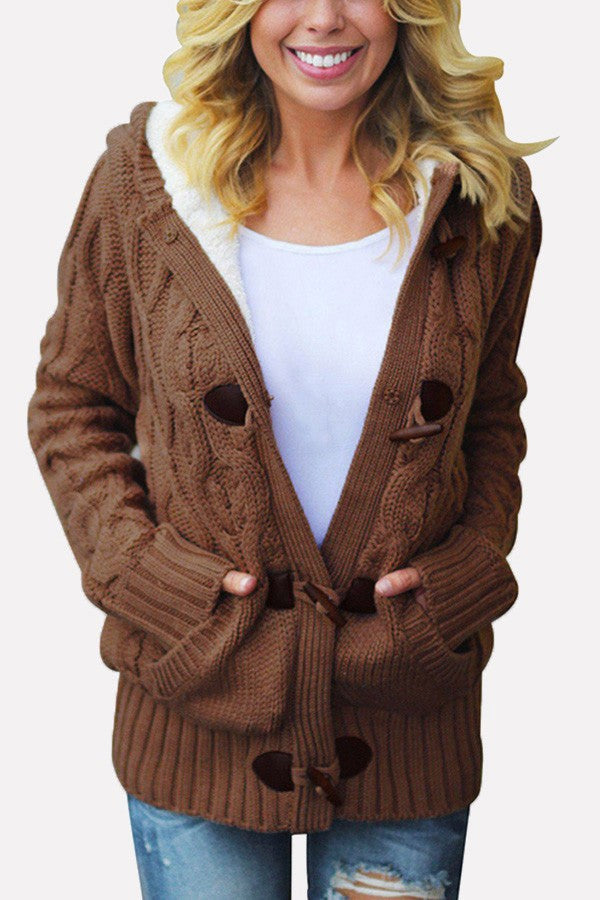 Khaki Horn Buckle Pocket Hooded Casual Thicken Cardigan Sweater