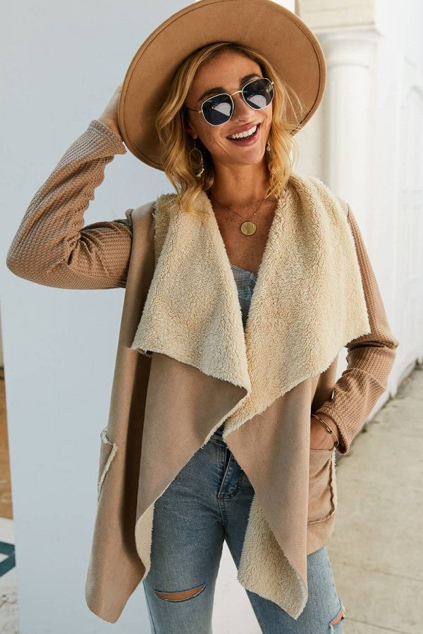 Khaki Pocket Waterfall Collar Casual Cardigan Coat