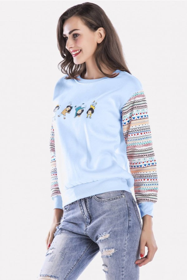 Light-blue Graphic Round Neck Long Sleeve Casual Sweatshirt
