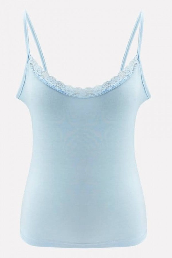 Light-blue Lace Splicing Spaghetti Straps Sexy Camisole