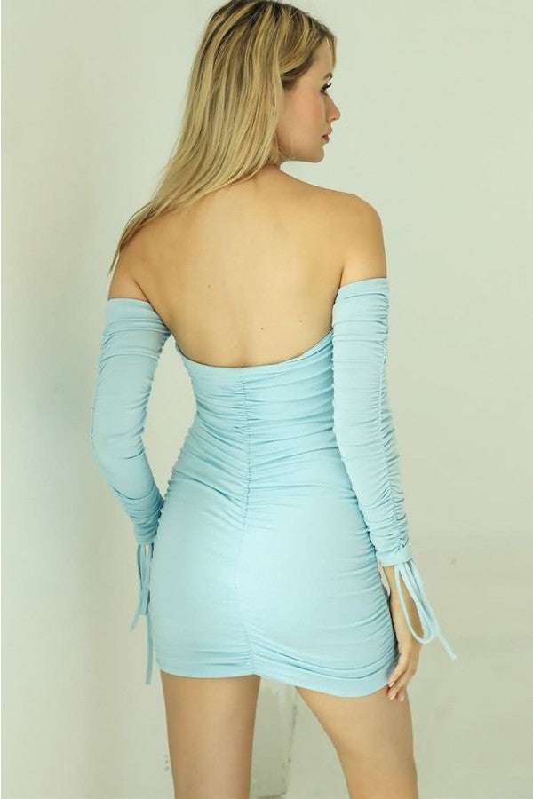 Light-blue Off Shoulder Ruched Knotted Cutout Sexy Bodycon Dress