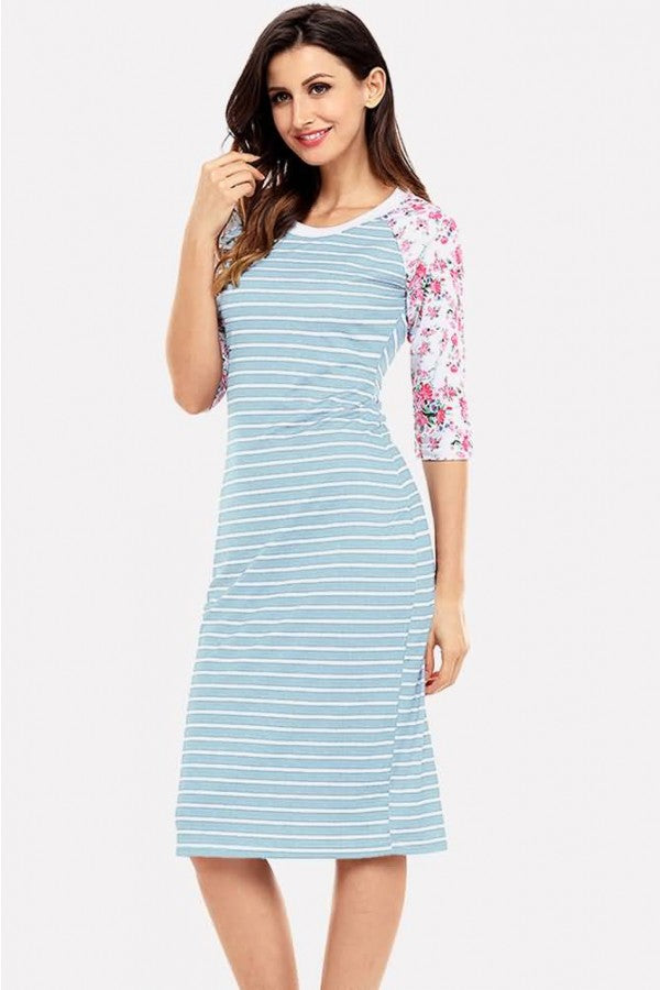 Light-blue Stripe Floral Print Half Sleeve Casual T-shirt Dress