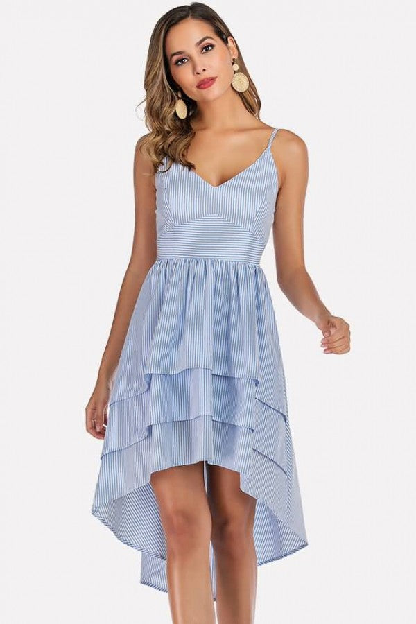 Light-blue Stripe Spaghetti Straps High Low Casual Dress