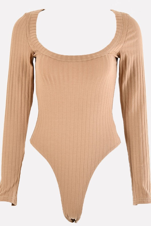 Light-brown Ribbed Square Long Sleeve Sexy Bodysuit
