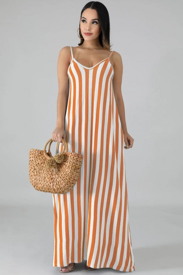 Light-brown Stripe Spaghetti Straps V Neck Casual Maxi Dress