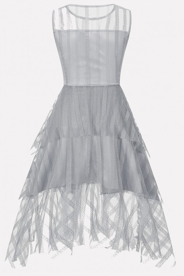 Light-gray Lace Mesh Layered Sleeveless Elegant Dress