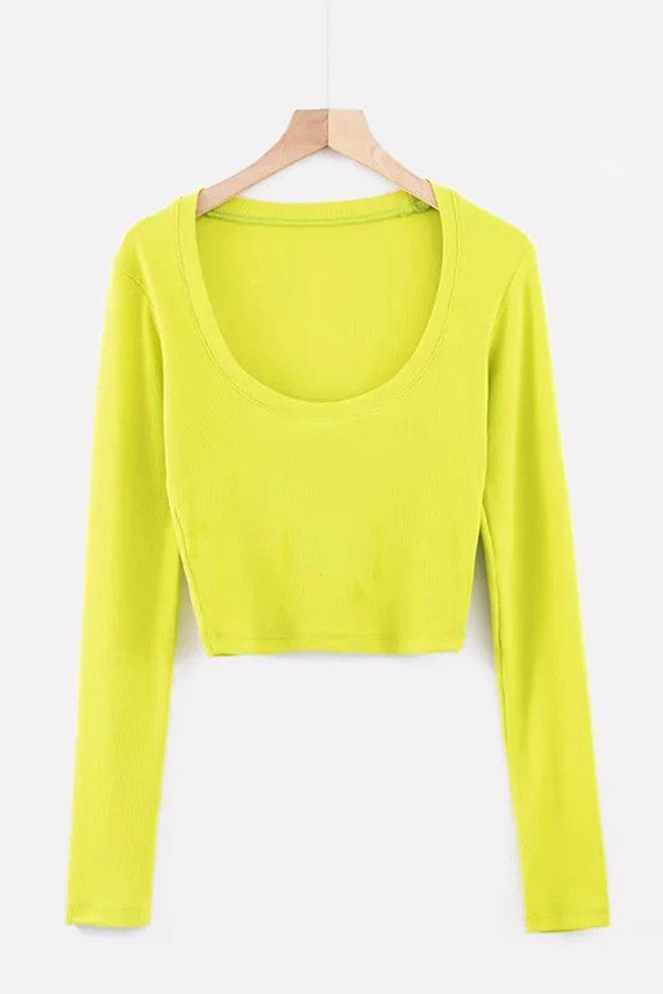 Light-green Ribbed U Neck Long Sleeve Casual T Shirt