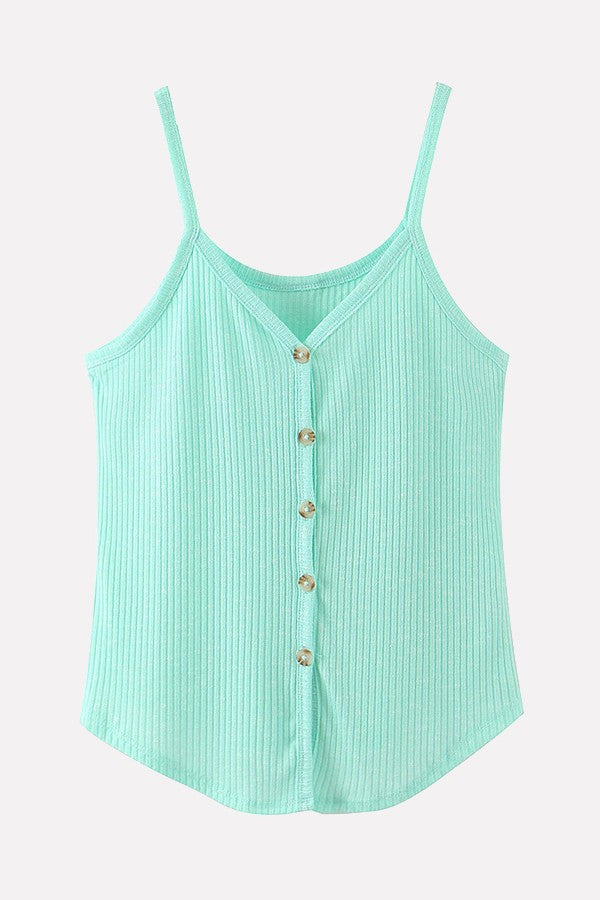 Light-green Ribbed V Neck Button Up Casual Camis