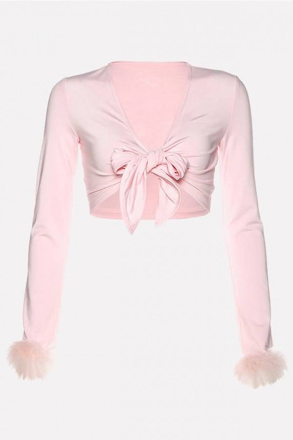 Light-pink Faux Fur Knotted Long Sleeve Sexy Crop Top