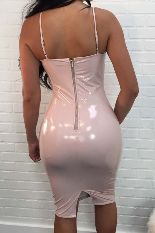 Light Pink Faux Leather Spaghetti Straps Slit Back Bodycon Club Dress