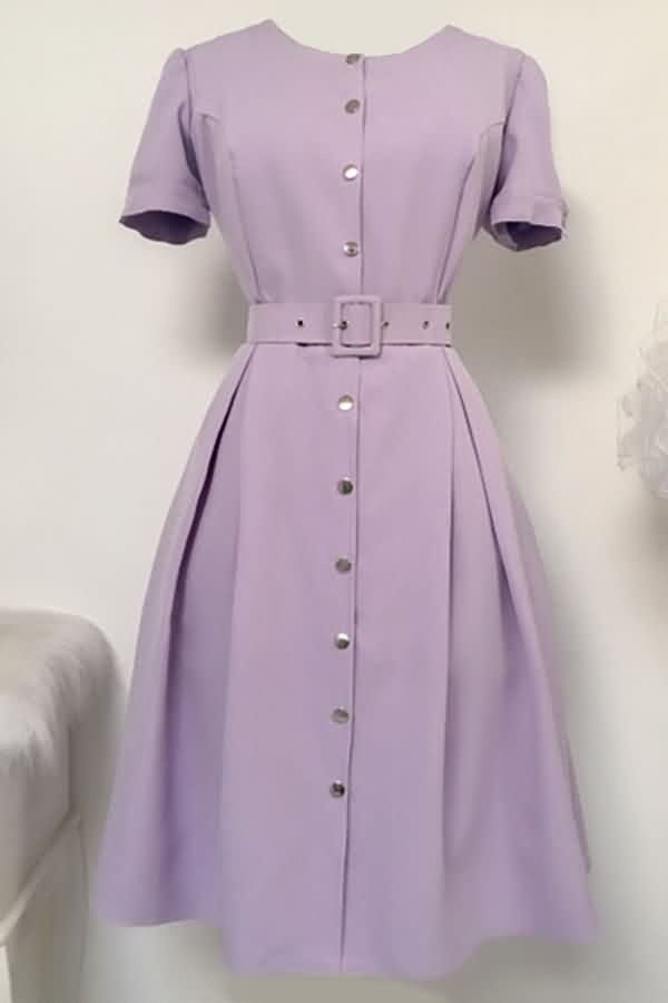 Light-purple Button Up Belt Short Sleeve Casual A Line Dress