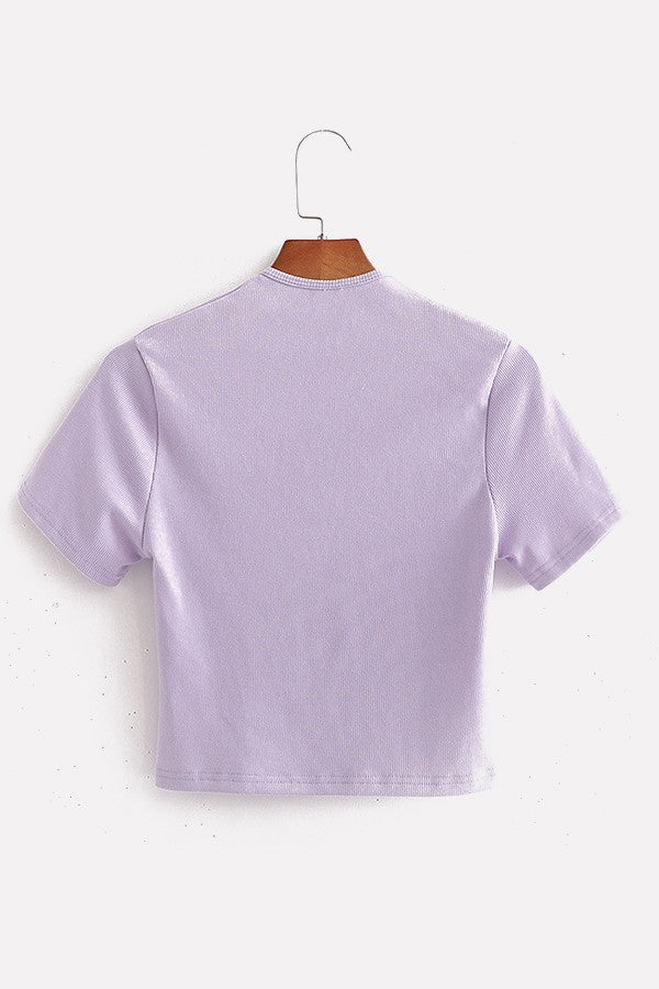 Light-purple Ribbed Crew Neck Cutout Short Sleeve Casual T Shirt
