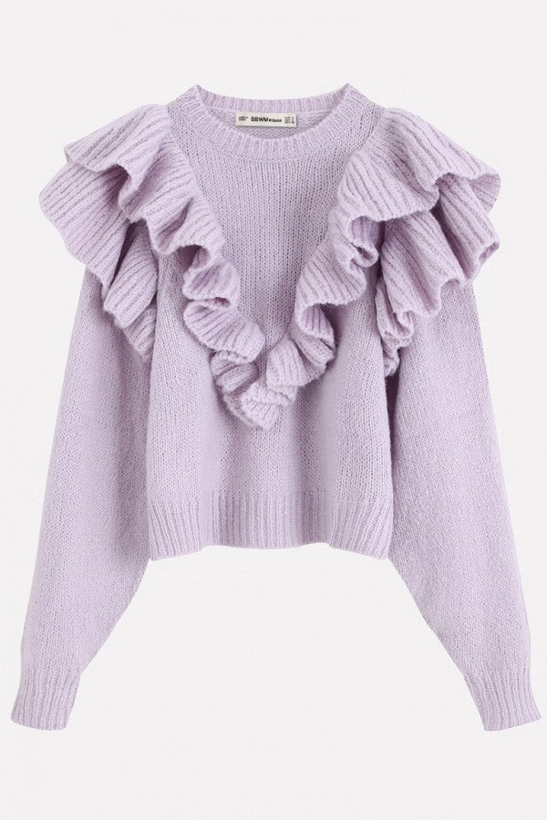 Light-purple Ruffles Trim Round Neck Long Sleeve Chic Pullover Sweater
