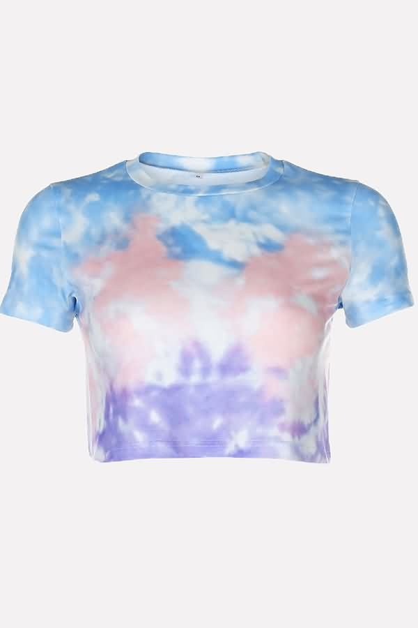 Multi Tie Dye Round Neck Short Sleeve Casual T Shirt