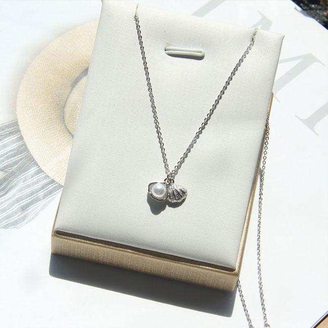 Cute Shell Pearl Silver Necklace Friend Gift Women Necklace