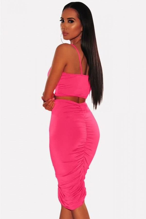Neon Ruched Spaghetti Straps Sexy Bodycon Two Piece Dress