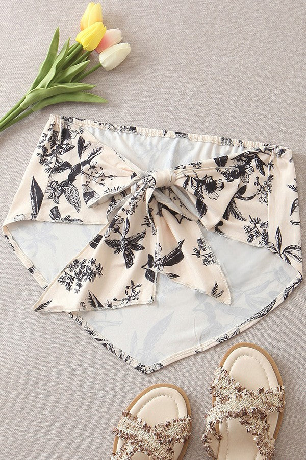 Nude Floral Print Asymmetric Tied Back Sexy Bandeau