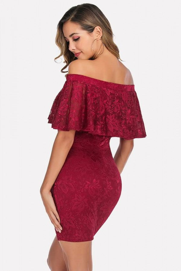 Off Shoulder Ruffles Sexy Bodycon Lace Dress