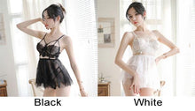 Load image into Gallery viewer, Sexy Pajamas Sling Perspective Skirt Lace Bra Set Nightdress Women Lingerie
