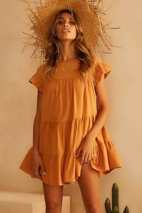 Orange Round Neck Short Sleeve Ruffles Casual Dress
