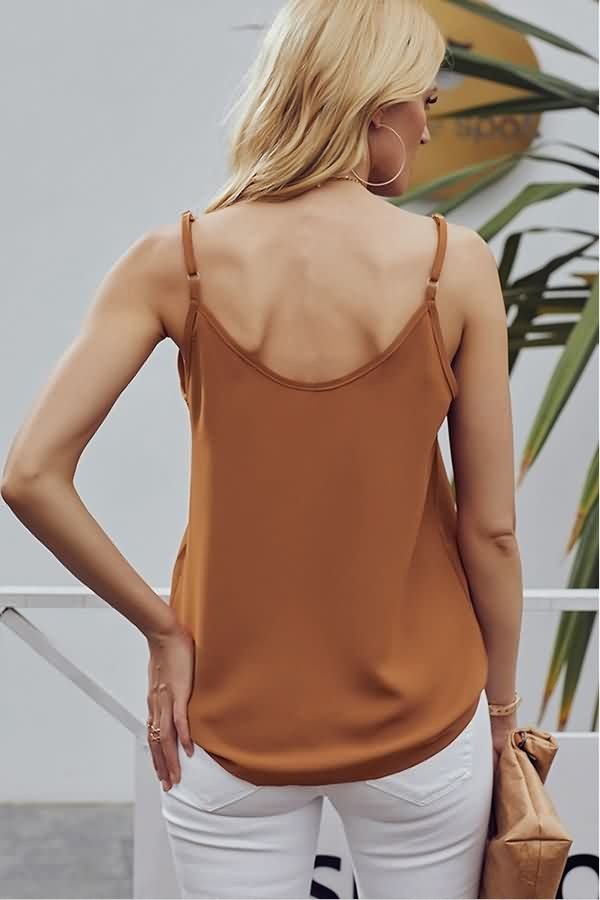 Orange V Neck Single Breasted Casual Camisole