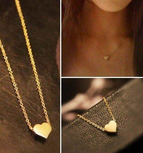 Cute Gold Heart shape Pendant Necklace - xikeoo