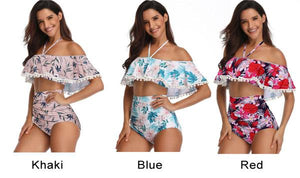 Sexy Cross Collar High Waist Bikinis Sling Flower Leaves Printing Summer Swimsuit