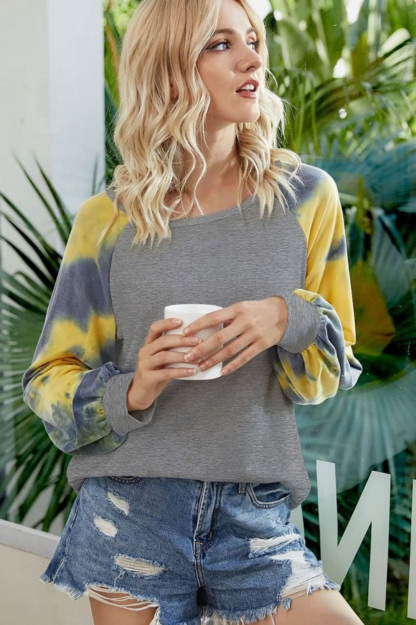 Patchwork Tie Dye Round Neck Puff Sleeve Casual T Shirt