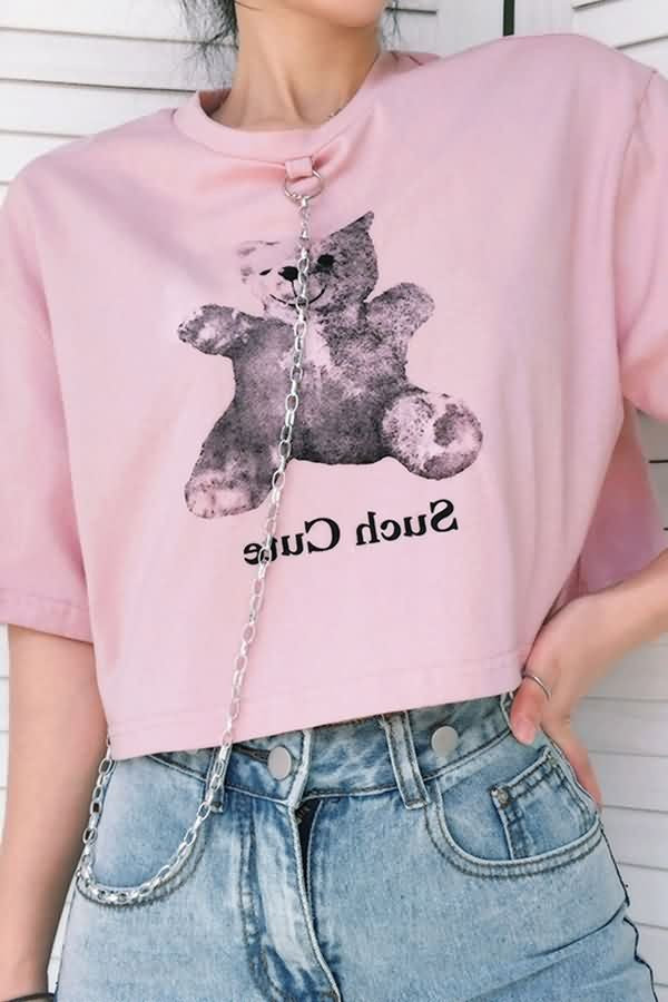 Pink Bear Letters Print Chain Decor Casual T Shirt