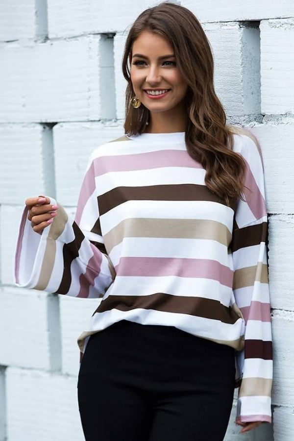 Pink Colorful Stripe Crew Neck Long Sleeve Casual T Shirt
