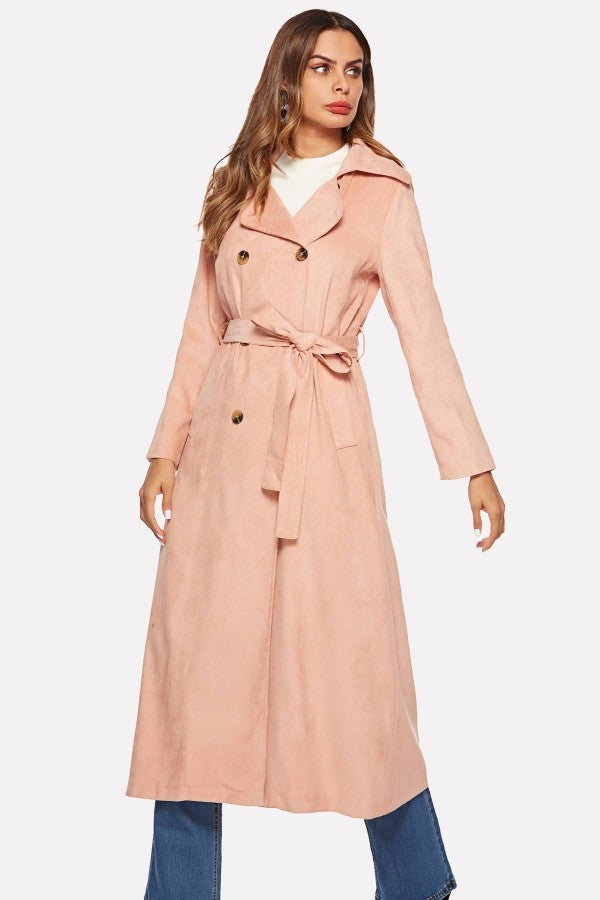 Pink Corduroy Button Up Tied Pocket Casual Coat